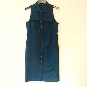 Elie Tahari Navy Button-Up Sleeveless Dress